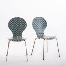 chaise redoute chaise imprimée empilable lot de 2 watford imprimé la redoute