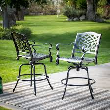 Bar Height Patio Dining Set by Belham Living Sorrento Cast Aluminum Patio Dining Swivel Arm Chair