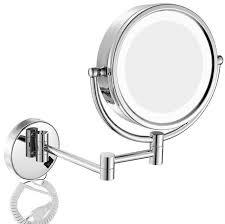 Retractable Mirror Bathroom Wall Mounted Retractable Faced 8 Inch Bathroom Makeup Brass