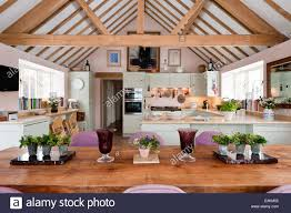 Open Plan Open Plan Kitchen Diner With Pitched Roof And Beamed Ceilings The