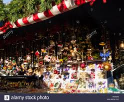 stall on nuremberg christmas market selling christmas decorations