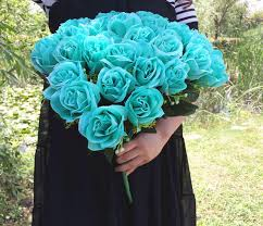 teal roses artificial mint green flower bouch 36 roses