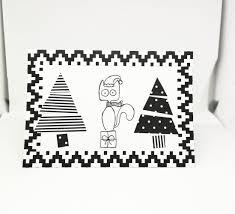 greetings card handmade christmas card cat and two christmas
