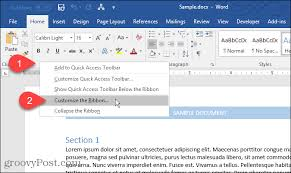 customize ribbon how to customize the ribbon in office 2016