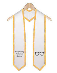 graduation stole pre optometry professional society white graduation stole with