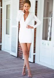 white long sleeve padded shoulder mini dress