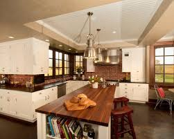 Kitchen With Brick Backsplash Butcher Block Countertop Brick Backsplash Houzz