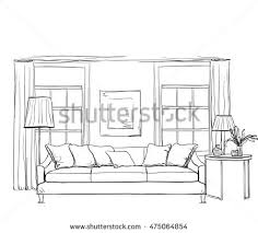 hand drawn room interior sketch chair stock vector 475064854