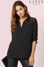black blouse with white collar lace shirts blouses lace tops official site