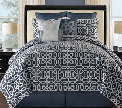 awesome queen 9 pc navy blue white reversible gray comforter set