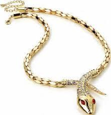 chain necklace snake images Gold snake crystal stone costume chain necklace jpg