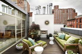 furniture terrace roof top patio design with green patio sofa
