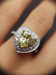 heart shaped diamond engagement ring yellow diamond engagement ring 3 00 ctw heart shaped