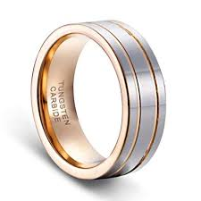 mens double rings images Tusen jewelry 8mm men 39 s double grooved rose gold plated wedding jpg