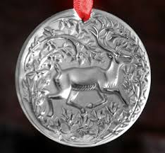 lalique 6101200 deer ornament and ornament
