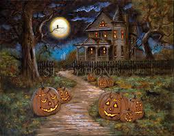 halloween canvas haunted house jack o lanterns ghosts