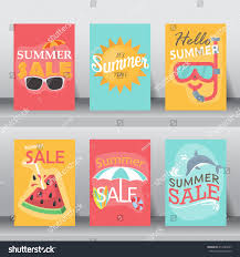 Size Invitation Card Summer Holiday Vacation Poster Set Flat Stock Vector 414789247
