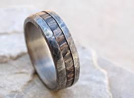 Wedding Ring Metals by Cool Mens Ring Mixed Metal Mens Promise Ring Wood Grain Unique