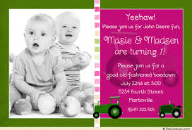 tractor girls hoedown invitation deere first birthday photo