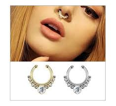 silver piercing rings images Surgical steel titanium gold silver plated crystal fake nose ring jpg