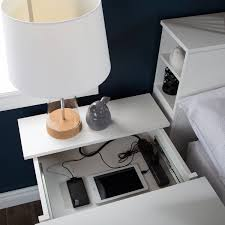 End Table Charging Station by South Shore Vito Nightstand With Charging Station And Drawers