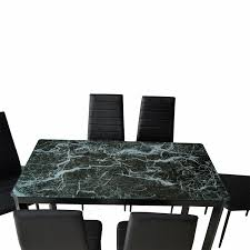 amazon com ebs 7 piece home kitchen dining room metal furniture amazon com ebs 7 piece home kitchen dining room metal furniture set with faux marble glass top table 6 chairs metal leg frame green finish table