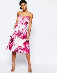 asos asos bright pink floral bandeau midi prom dress