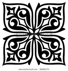 traditional kazakh ornaments pillows isolated black stock vector