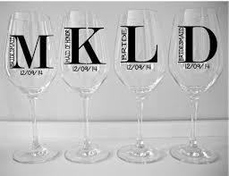 Diy Monogram Wine Glasses Single Diy Wine Glass Decal Monogram With Title And Date