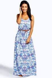 hayley double strap printed maxi dress boohoo