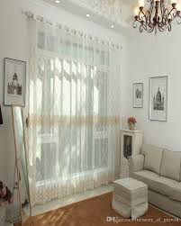 elegant pastoral pure cream color window sheer curtains voile for
