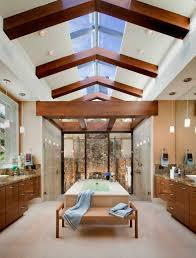 master bathroom with vaulted ceiling and skylight home