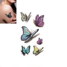 bittb 10pc butterfly pattern waterproof temporary tattoos