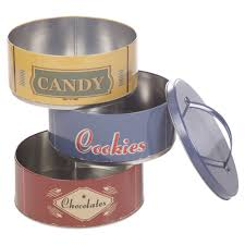 set of 3 metal round cookie tins dry food kitchen stackable