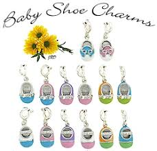 baby shoe charms sterling silver enameled