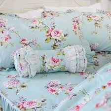 girls frilly bedding fadfay shabby blue floral ruffle bedding set vintage elegant
