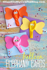 balloon elephant card kid craft