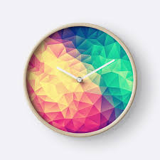 Design Clock by Abstract Polygon Multi Color Cubism Low Poly Triangle Design