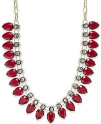 red collar necklace images Lyst inc international concepts gold tone red stone collar jpeg