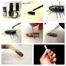 easy nail art tutorial with stripping nail tape candy crow