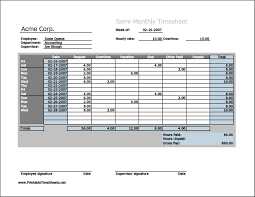 Hourly Timesheet Template Excel Semi Monthly Timesheet Horizontal Orientation Work Hours Entered