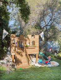 Big Backyard Savannah Playhouse by Building Our Backyard Castle With Wood Naturally Emily Henderson