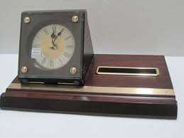 seiko wooden desk table clock card holder pen holder quartz qxg118blh seiko an
