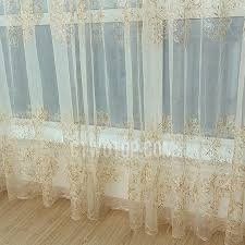 Sheer Embroidered Curtains Gold And Beige Luxury Embroidered Floral Sheer Curtain