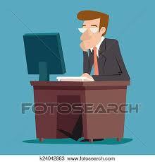 bureau dessin clipart homme affaires caractère bureau travailler ordinateur