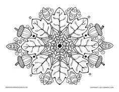 coloring page mandala acorn and oak leaves mandala to by