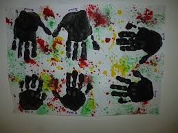 naidoc hand prints and paint spray australia day craft