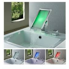 Milan Deck Mounted Waterfall LED Bathroom Sink Faucet Set - Faucet sets bathroom