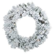 flocked ashton 30 inches artificial wreath with 50 white led