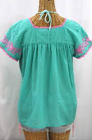mint blouse la marina corta embroidered peasant blouse mint